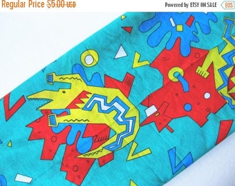 40% SALE The 80s called... vintage novelty cotton poly fabric abstract animal motif yellow turquoise red crocodile 3 yards available