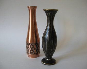 Two slimline German mid century vintage vases etched copper matte black with gold pottery Handgemalt