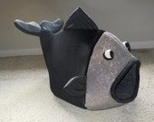Fish Shaped Pet Bed Black Velour with Golden Silver Mesh Head