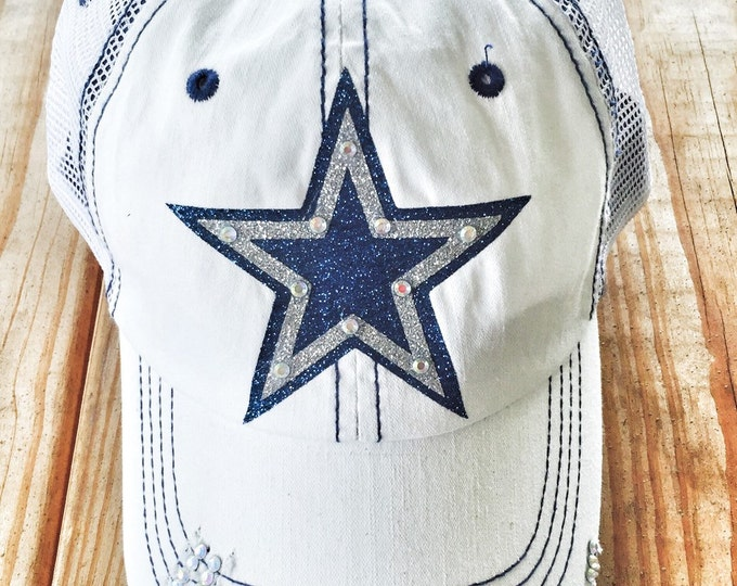 Cowboys School Mascot Womens Baseball Cap, Embellished Rhinestone Bling Trucker Hat Cowboys Team Spirit Women's Personalized Football Hat
