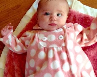 Baby girl jacket pink polka dot