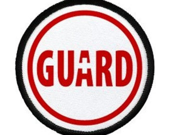 LIFEGUARD Rescue Ocean Swimming Pool Safety Sew-on Black Rim Patch (Choose Size)