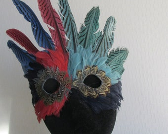 Mardi Gras Crowned Red, Green and Blue Feather Mask