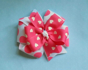 Valentine Hot Pink Pinwheel Bow, 2 Layered Valentine Bow, Toddle Bow, Hot Pink Bow, Toddle Bow, 4 Inch Bow