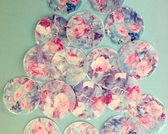 """Edible Image wafer paper Shabby Chic 16  individual 2"""" circles OR squares of pink and aqua roses with birds for your cookies and cupcakes"""