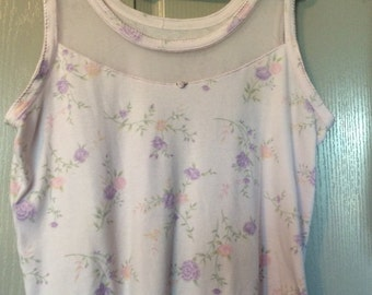 Lace Mesh top sleeveless tank top lavender floral soft cotton unlabeled