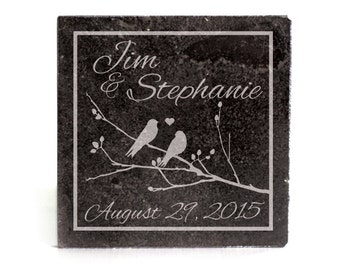 Personalized Coasters Set of 4 - black granite laser - 10058 Birds on Brach inside a box personalized with names and dates in script