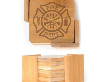 Wooden Square Coasters - Set of 6 with holder - 2566 Fire Dept
