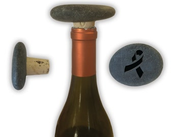 Engraved Symbol Wine Stopper on Natural Stone  - 6854 Cancer Ribbon
