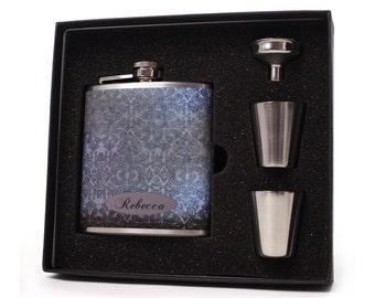 Flask for Women // Vintage Damask Hip Flask Liquor Flask
