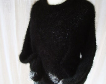 Mohair sweater hand knitted in Midnight Black shade. Free shipping.