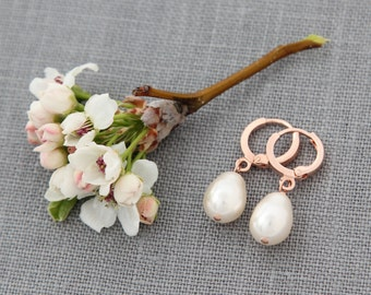 Rose Gold Hoops, Ivory Pearl Rose Gold Earrings, Wedding Jewelry, Pink Gold Earrings