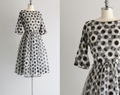 Black and White Polka Dot Dress . Vintage 1950s Dress . 50s Party Dress
