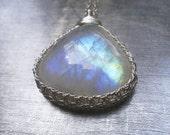 Rainbow Moonstone Necklace, Fine Silver Wire Crochet Pendant, Gemstone Jewelry, Statement Jewelry, June Birthstone, Bridal Jewelry