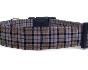 Plaid Dog Collar / Gray Plaid Collar / Brown Plaid Dog Collar / Boy Dog Collar / Grey Red Dog Collar / Plaid Collar / Adjustable Collar
