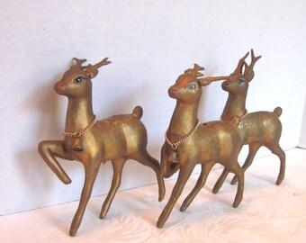 Christmas Deer Gold 1960s Woodland Decor Holiday Decorations 1960s 1970s Hong Kong Set of 3