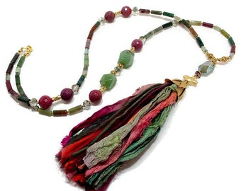 Long Boho Tassel Necklace, Bohemian Glam Necklace, Boho Statement Necklace, Multi Color Agate Necklace, Handmade Sari Silk Tassel