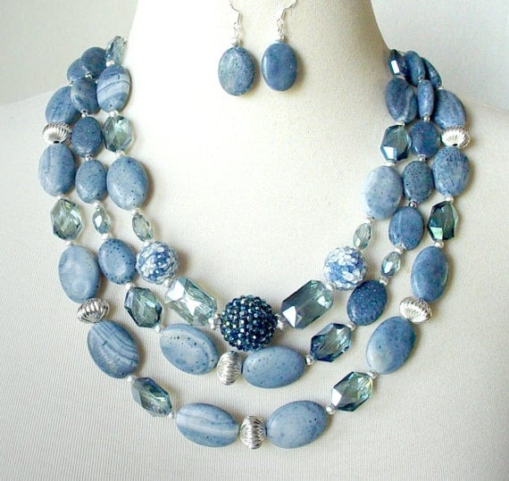 denim blue necklace chunky statement necklace big bold