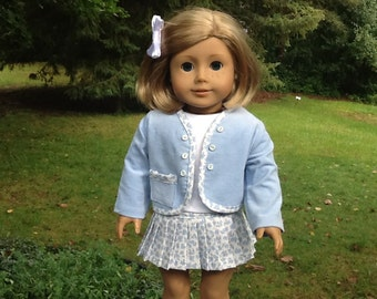 18 Inch Doll Clothes Powder Blue Skirt, Shirt and Jacket for dolls like American Girl