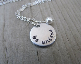 "Inspiration Necklace- ""be unique"" with an accent bead in your choice of colors- Hand-Stamped Jewelry"