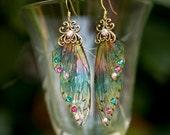 Sprite Fairy Wing brass earrings