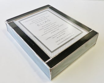 "Stained Glass Keepsake Gift Box Bar Mitzvah Invitation Contemporary Design Gray Custom Made-to-Order 8""x10""x2"""