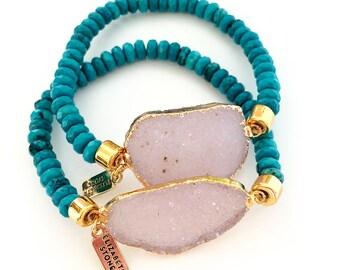 SALE! Lust Bracelet - Turquoise & druzy, Druzy bracelet, Druzy Stretch bracelet