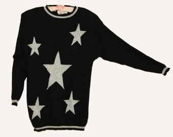 "Karen Kane knit Silver Star sweater size L  Bust 38"""