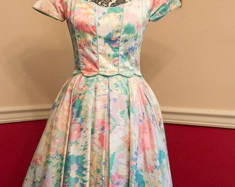 1980s Fit and Flare Floral Dress by Victor Costa