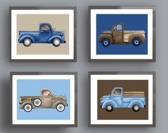 Truck nursery art, vintage truck art, truck art prints, transportation nursery wall art decor