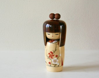 Vintage Large Kokeshi Doll, Cherry Blossom, Geisha, Traditional Japanses