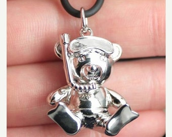 SALE Big Scuba Diver Teddy Bear Sterling Silver Pendant with Necklace