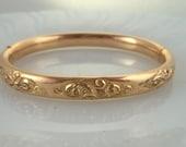 Antique Gold Filled Bangle Bracelet Repousse Design Rosey Gold