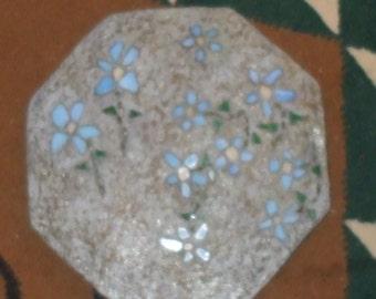 Light Blue Flowers Octagon Stepping Stone