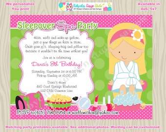 Sleepover Spa Party Invitation - DIY Print your own - Choose your girl - Matching Party Printables available