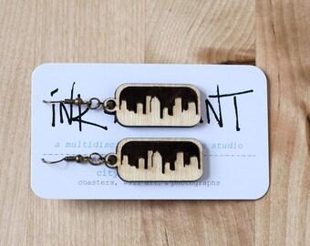 Houston Skyline Earrings (Laser Cut Wood) City Skyline Jewelry, Texas Gifts under 15