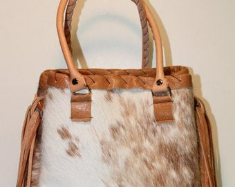 Cowhide City Bag with Fringe
