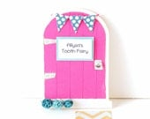 Tooth Fairy Door Girls Tooth Fairy Gift Personalized Tooth Fairy Garden Door Tooth Fairy Gift for Girls in Dark Pink