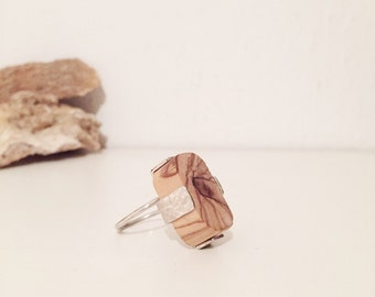 Silver Statement Ring, Wood Ring, Olive Wood Ring, Adjustable Ring