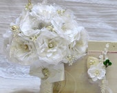 White bridal bouquet, silk bridal bouquet, broach wedding bouquet, silk wedding bouquet, wedding bouquet set, brooch bridal bouquet, bouquet