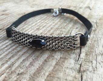 black choker, goth collar, BDSM collar discreet, choker necklace, black leather choker collar, silver pendant collar, 90s' choker, bongage