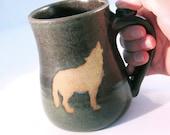 Howling Wolf - Coffee Mug - Wolf Mug - Handmade Pottery - Pottersong - Wild Animal - Wolf Silhouette - Dark Brown Mug - Walnut Brown
