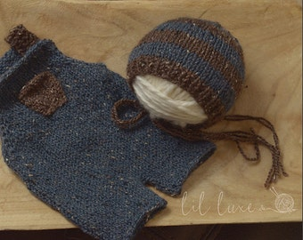 Ready to ship tweed overalls set