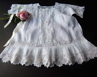 Vintage French Handmade Baby Dress Exceptional Lots of Handmade Lace