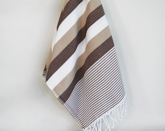 SALE 70 OFF/ Turkish Beach Bath Towel Peshtemal / Brown / Wedding Gift, Spa, Swim, Pool Towels and Pareo