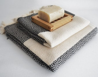 SET Diamond Turkish BATH Towel Peshtemal and Head,Hand Towel-A- Black - White - Bath, Beach, Spa, Swim, Pool Towels