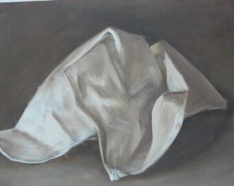 Original Tonal Oil Painting Crumbled Paper Still Life