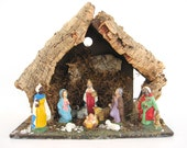 Vintage Nativity Creche Set Old Rustic Wood Manger Scene 10 Piece Figurines Made in Italy Mid Century Christmas Decoration