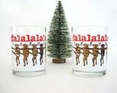 Vintage Glass Christmas Barware Bar ware Tumbler Rocks Glasses Set Dancing Steer Spotted Cows Chorus Line Falalala Joske's 1985 Texas