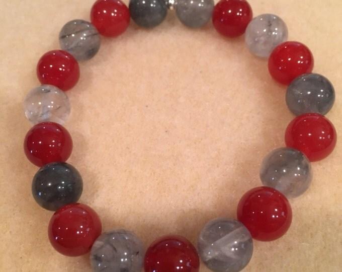 REBOOT: Tibetan Quartz & Carnelian Deep Sienna Red 10mm Round Stretch Bead Bracelet with Sterling Silver Accent